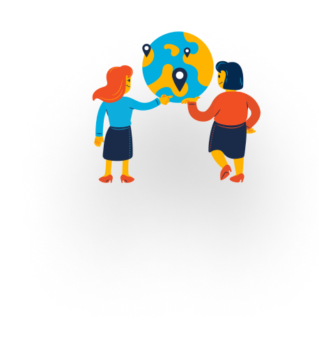 Two illustrated travelers looking at a globe with location pins on it,