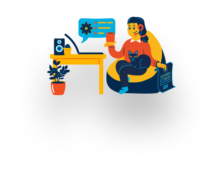 An illustration of a girl with a headset chatting on a laptop.
